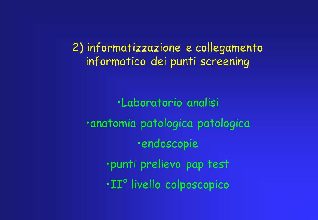 2) informatizzazione e collegamento informatico dei punti screening Laboratorio analisi anatomia patologica patologica endoscopie punti prelievo pap t