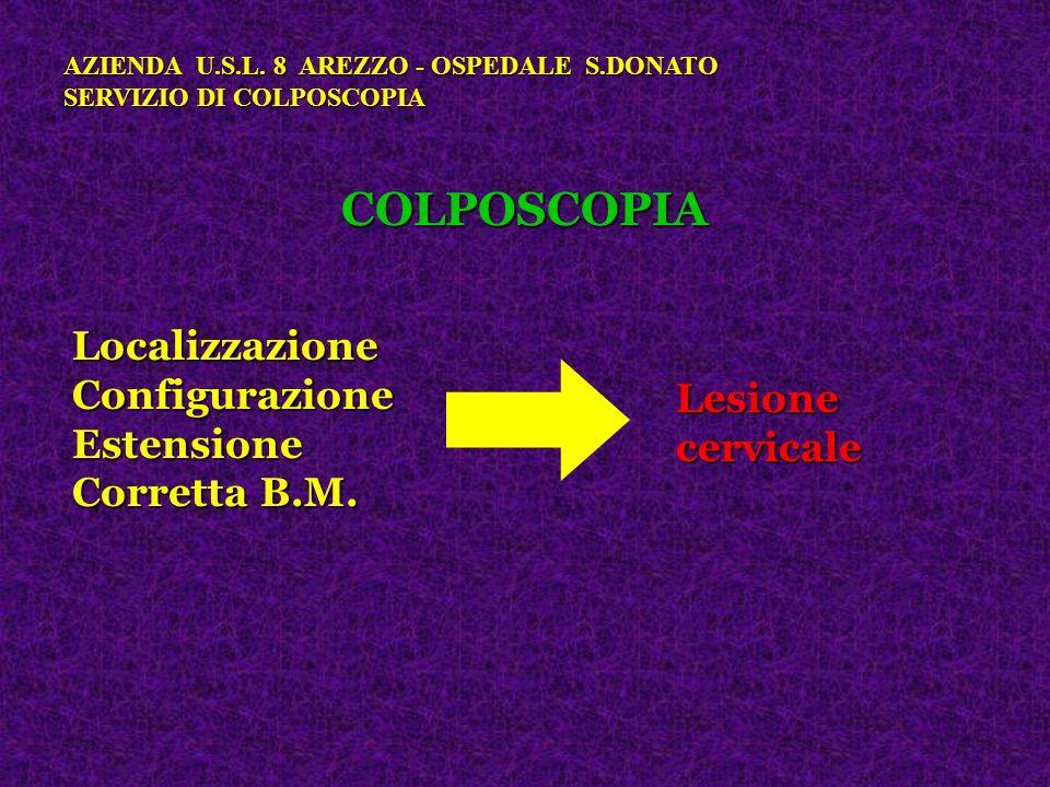 COLPOSCOPIA AZIENDA U.S.L. 8 AREZZO - OSPEDALE S.DONATO SERVIZIO DI COLPOSCOPIA LocalizzazioneConfigurazioneEstensione Corretta B.M. Lesionecervicale