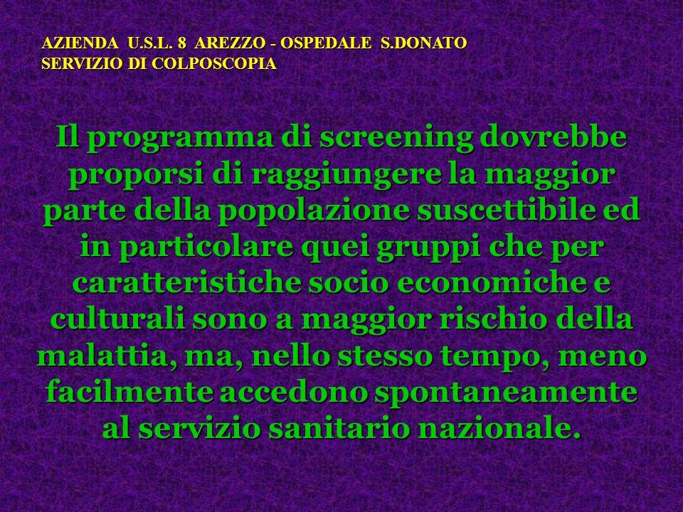 Il programma di screening dovrebbe proporsi di raggiungere la maggior parte della popolazione suscettibile ed in particolare quei gruppi che per carat
