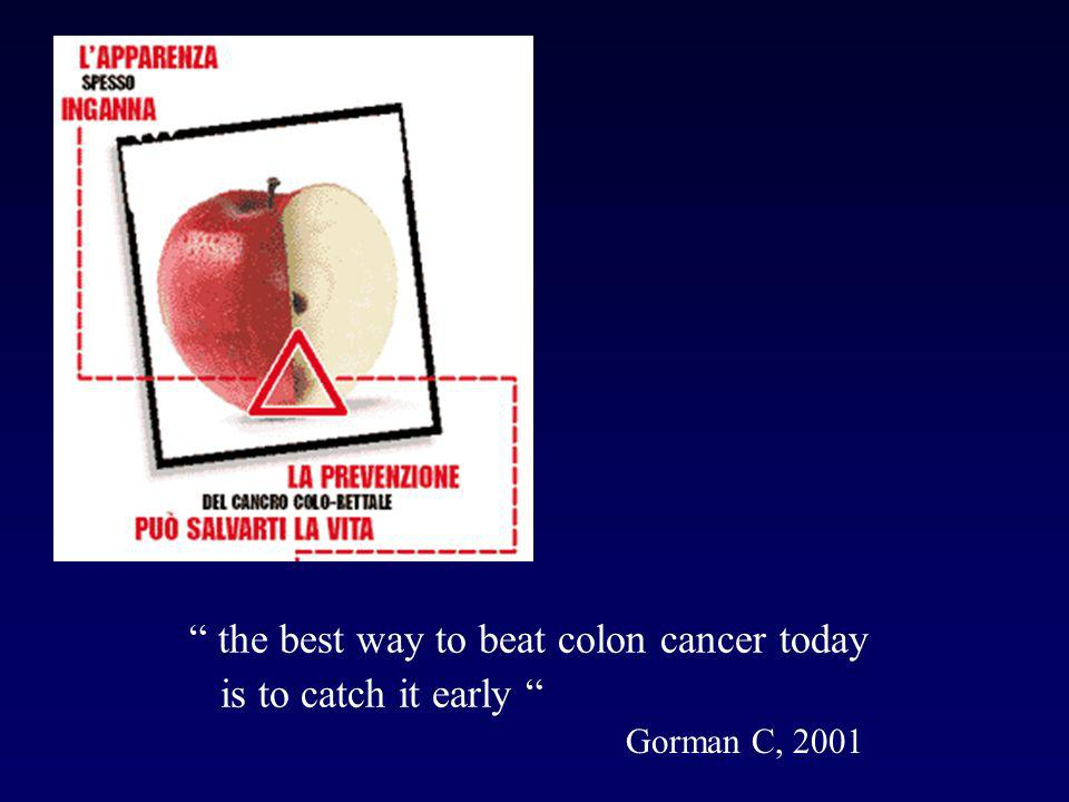 the best way to beat colon cancer today is to catch it early Gorman C, 2001