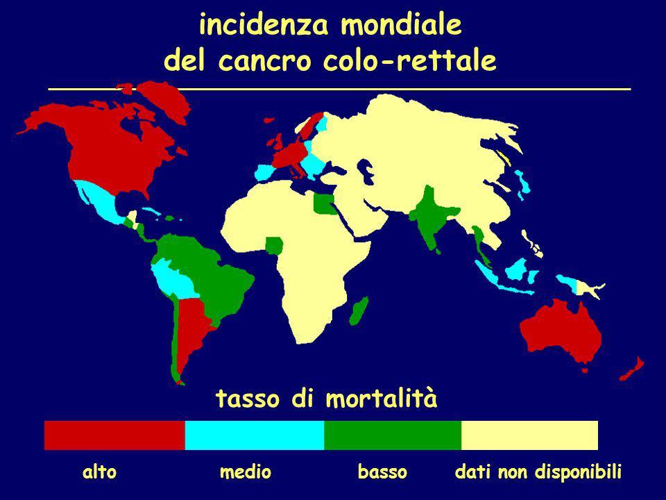 incidenza mondiale del cancro colo-rettale tasso di mortalità alto medio basso dati non disponibili