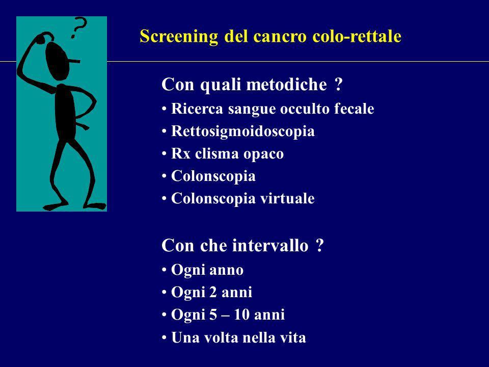 Screening del cancro colo-rettale Con quali metodiche .