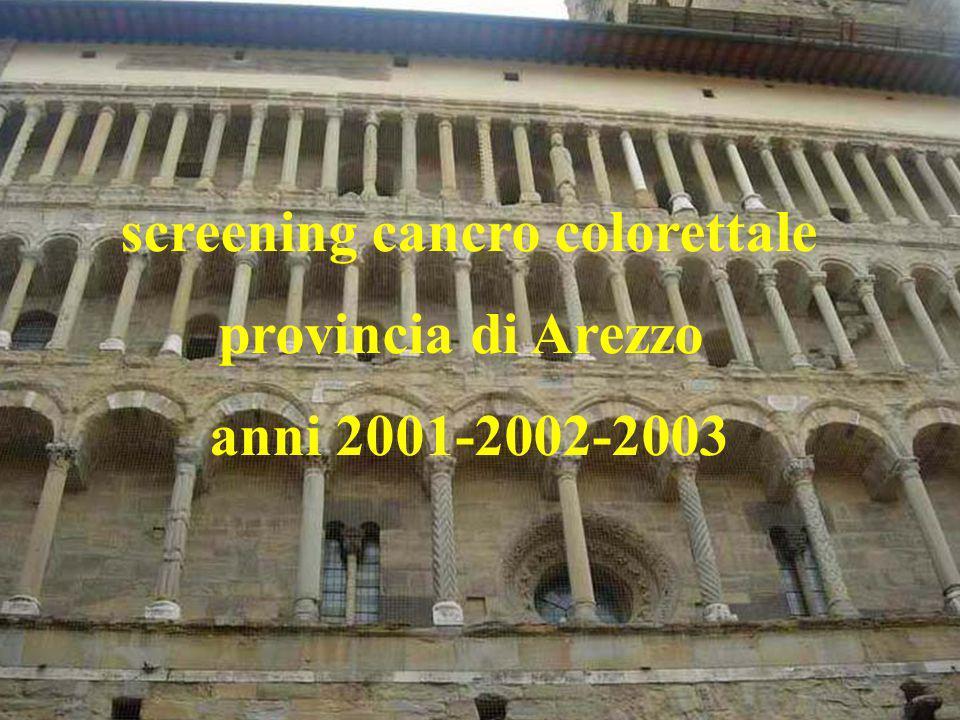 screening cancro colorettale provincia di Arezzo anni 2001-2002-2003