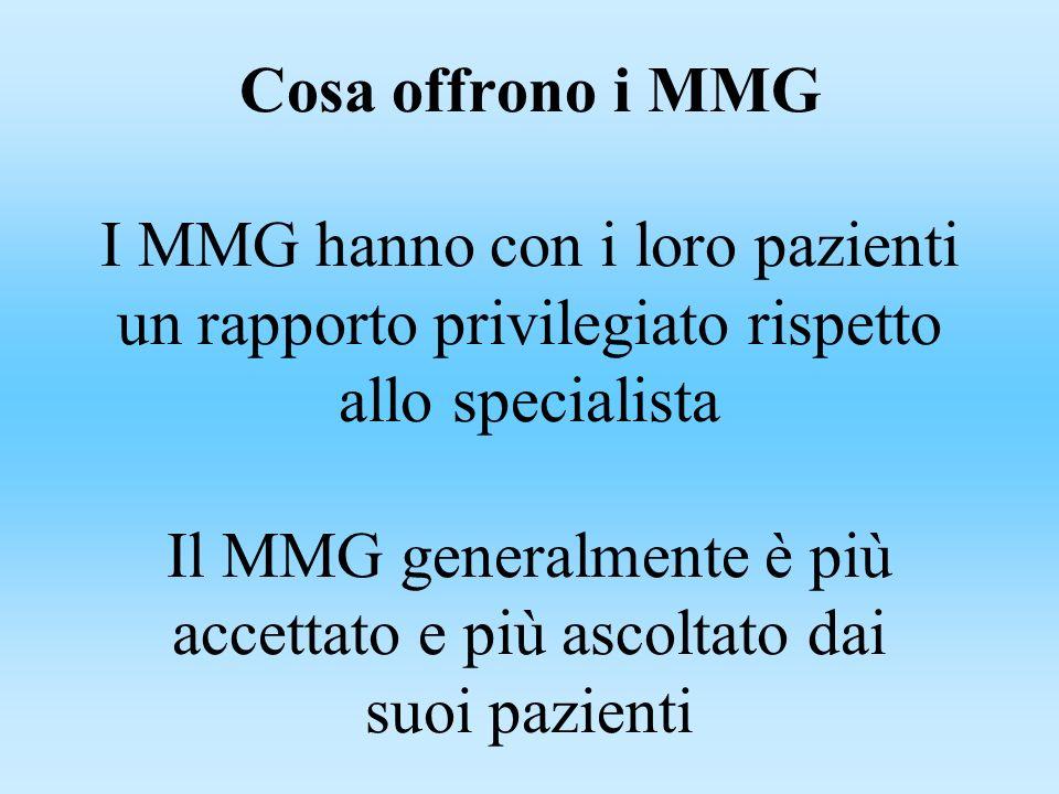 Cosa offrono i MMG I MMG hanno con i loro pazienti un rapporto privilegiato rispetto allo specialista Il MMG generalmente è più accettato e più ascoltato dai suoi pazienti