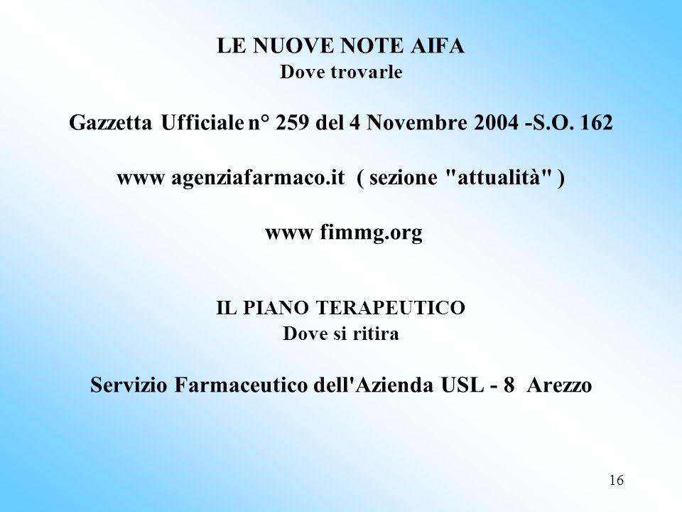 16 LE NUOVE NOTE AIFA Dove trovarle Gazzetta Ufficiale n° 259 del 4 Novembre 2004 -S.O.