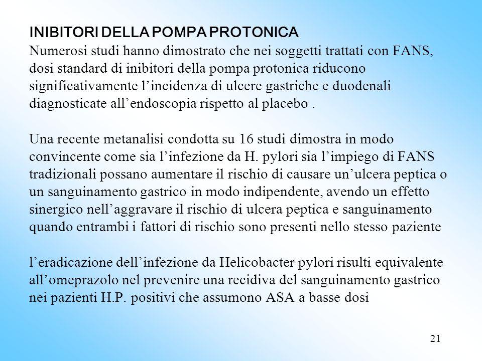 21 INIBITORI DELLA POMPA PROTONICA Numerosi studi hanno dimostrato che nei soggetti trattati con FANS, dosi standard di inibitori della pompa protonica riducono significativamente lincidenza di ulcere gastriche e duodenali diagnosticate allendoscopia rispetto al placebo.