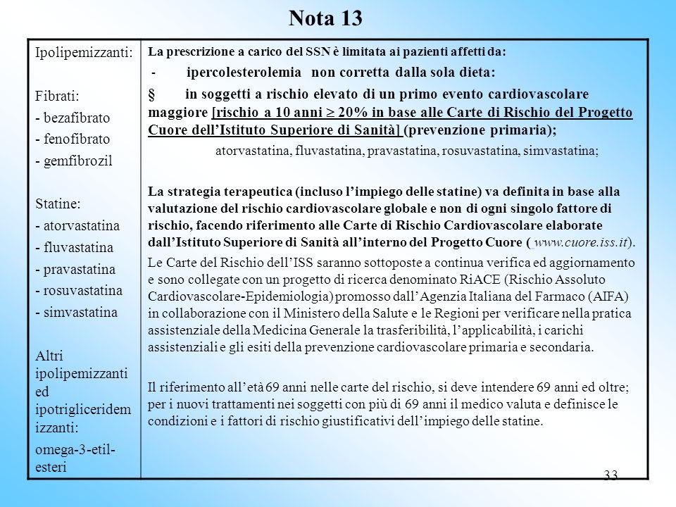 33 Nota 13 Ipolipemizzanti: Fibrati: - bezafibrato - fenofibrato - gemfibrozil Statine: - atorvastatina - fluvastatina - pravastatina - rosuvastatina - simvastatina Altri ipolipemizzanti ed ipotrigliceridem izzanti: omega-3-etil- esteri La prescrizione a carico del SSN è limitata ai pazienti affetti da: - ipercolesterolemia non corretta dalla sola dieta: § in soggetti a rischio elevato di un primo evento cardiovascolare maggiore [rischio a 10 anni 20% in base alle Carte di Rischio del Progetto Cuore dellIstituto Superiore di Sanità] (prevenzione primaria); atorvastatina, fluvastatina, pravastatina, rosuvastatina, simvastatina; La strategia terapeutica (incluso limpiego delle statine) va definita in base alla valutazione del rischio cardiovascolare globale e non di ogni singolo fattore di rischio, facendo riferimento alle Carte di Rischio Cardiovascolare elaborate dallIstituto Superiore di Sanità allinterno del Progetto Cuore ( www.cuore.iss.it).