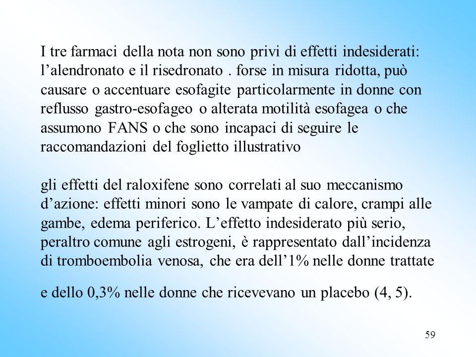 59 I tre farmaci della nota non sono privi di effetti indesiderati: lalendronato e il risedronato.