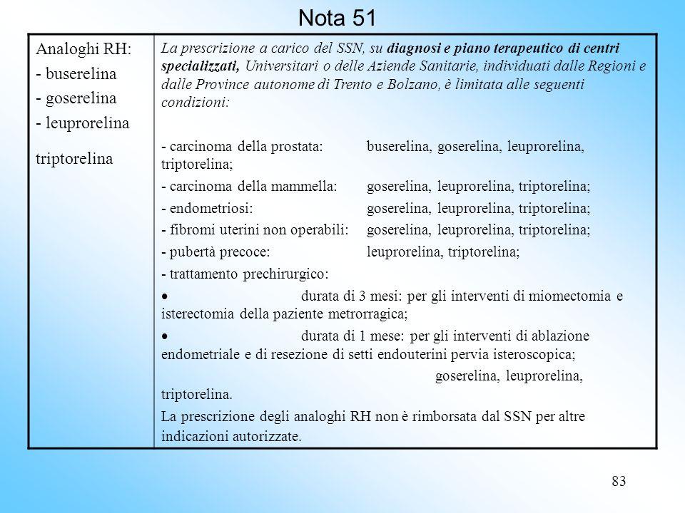 83 Nota 51 Analoghi RH: - buserelina - goserelina - leuprorelina triptorelina La prescrizione a carico del SSN, su diagnosi e piano terapeutico di centri specializzati, Universitari o delle Aziende Sanitarie, individuati dalle Regioni e dalle Province autonome di Trento e Bolzano, è limitata alle seguenti condizioni: - carcinoma della prostata:buserelina, goserelina, leuprorelina, triptorelina; - carcinoma della mammella:goserelina, leuprorelina, triptorelina; - endometriosi: goserelina, leuprorelina, triptorelina; - fibromi uterini non operabili:goserelina, leuprorelina, triptorelina; - pubertà precoce:leuprorelina, triptorelina; - trattamento prechirurgico: durata di 3 mesi: per gli interventi di miomectomia e isterectomia della paziente metrorragica; durata di 1 mese: per gli interventi di ablazione endometriale e di resezione di setti endouterini pervia isteroscopica; goserelina, leuprorelina, triptorelina.