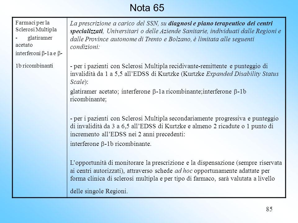 85 Nota 65 Farmaci per la Sclerosi Multipla - glatiramer acetato interferoni -1a e - 1b ricombinanti La prescrizione a carico del SSN, su diagnosi e piano terapeutico dei centri specializzati, Universitari o delle Aziende Sanitarie, individuati dalle Regioni e dalle Province autonome di Trento e Bolzano, è limitata alle seguenti condizioni: - per i pazienti con Sclerosi Multipla recidivante-remittente e punteggio di invalidità da 1 a 5,5 allEDSS di Kurtzke (Kurtzke Expanded Disability Status Scale): glatiramer acetato; interferone -1a ricombinante;interferone -1b ricombinante; - per i pazienti con Sclerosi Multipla secondariamente progressiva e punteggio di invalidità da 3 a 6,5 allEDSS di Kurtzke e almeno 2 ricadute o 1 punto di incremento allEDSS nei 2 anni precedenti: interferone -1b ricombinante.
