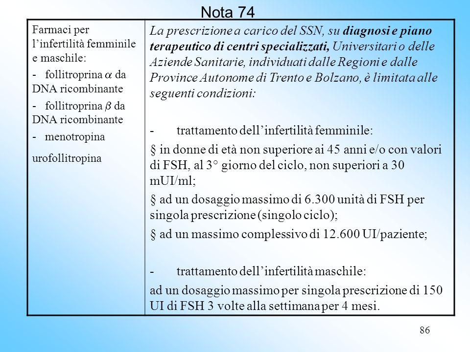86 Nota 74 Farmaci per linfertilità femminile e maschile: - follitroprina da DNA ricombinante - menotropina urofollitropina La prescrizione a carico del SSN, su diagnosi e piano terapeutico di centri specializzati, Universitari o delle Aziende Sanitarie, individuati dalle Regioni e dalle Province Autonome di Trento e Bolzano, è limitata alle seguenti condizioni: - trattamento dellinfertilità femminile: in donne di età non superiore ai 45 anni e/o con valori di FSH, al 3° giorno del ciclo, non superiori a 30 mUI/ml; ad un dosaggio massimo di 6.300 unità di FSH per singola prescrizione (singolo ciclo); ad un massimo complessivo di 12.600 UI/paziente; - trattamento dellinfertilità maschile: ad un dosaggio massimo per singola prescrizione di 150 UI di FSH 3 volte alla settimana per 4 mesi.
