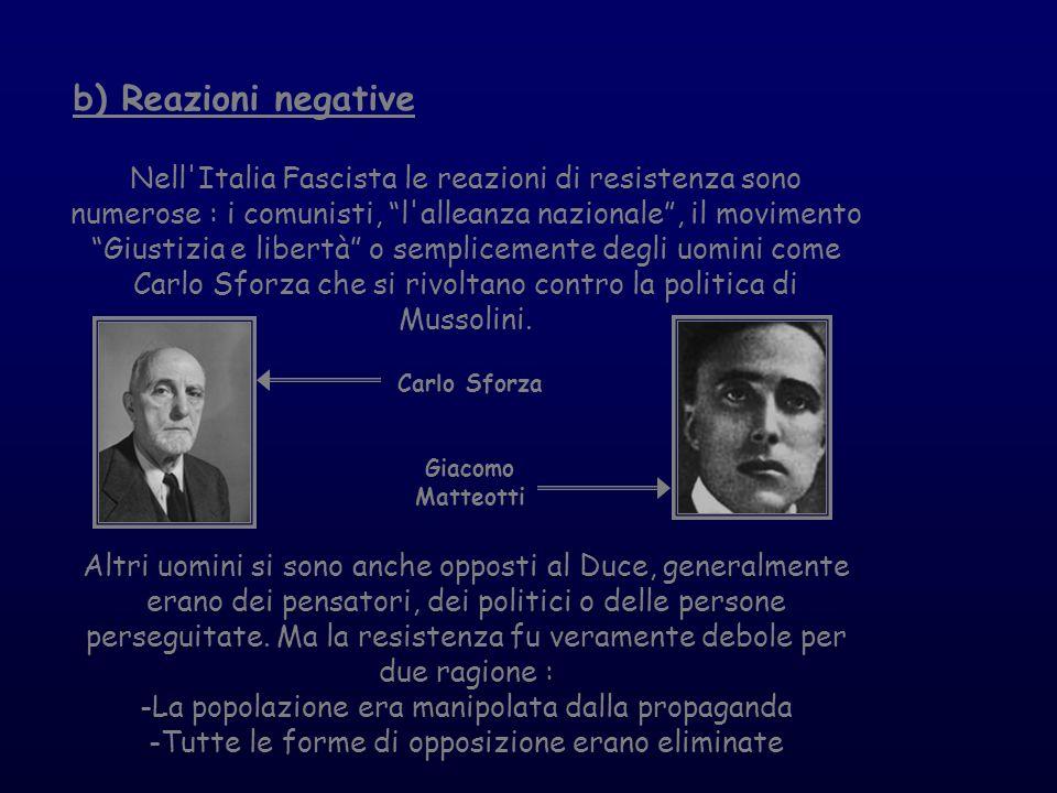 b) Reazioni negative Nell'Italia Fascista le reazioni di resistenza sono numerose : i comunisti, l'alleanza nazionale, il movimento Giustizia e libert