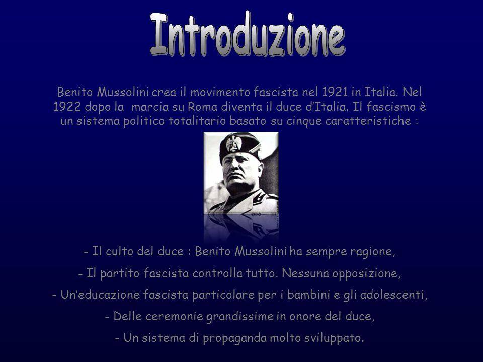 Benito Mussolini crea il movimento fascista nel 1921 in Italia. Nel 1922 dopo la marcia su Roma diventa il duce dItalia. Il fascismo è un sistema poli