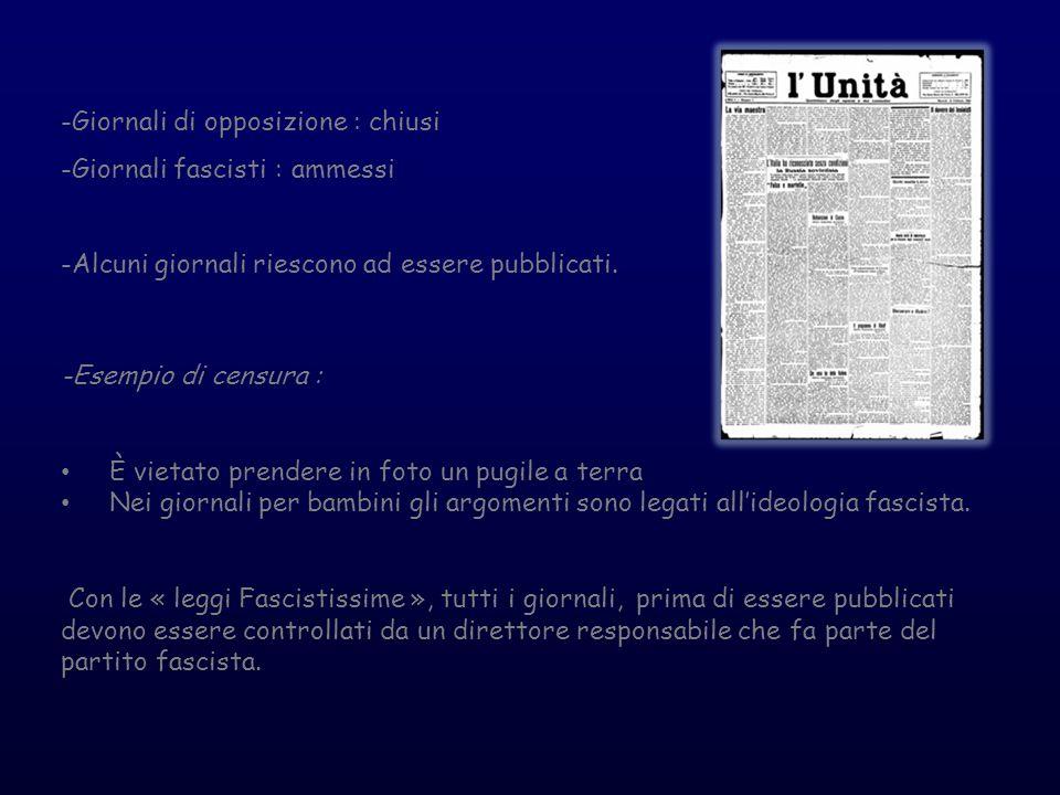 -Giornali di opposizione : chiusi -Giornali fascisti : ammessi -Alcuni giornali riescono ad essere pubblicati. -Esempio di censura : È vietato prender