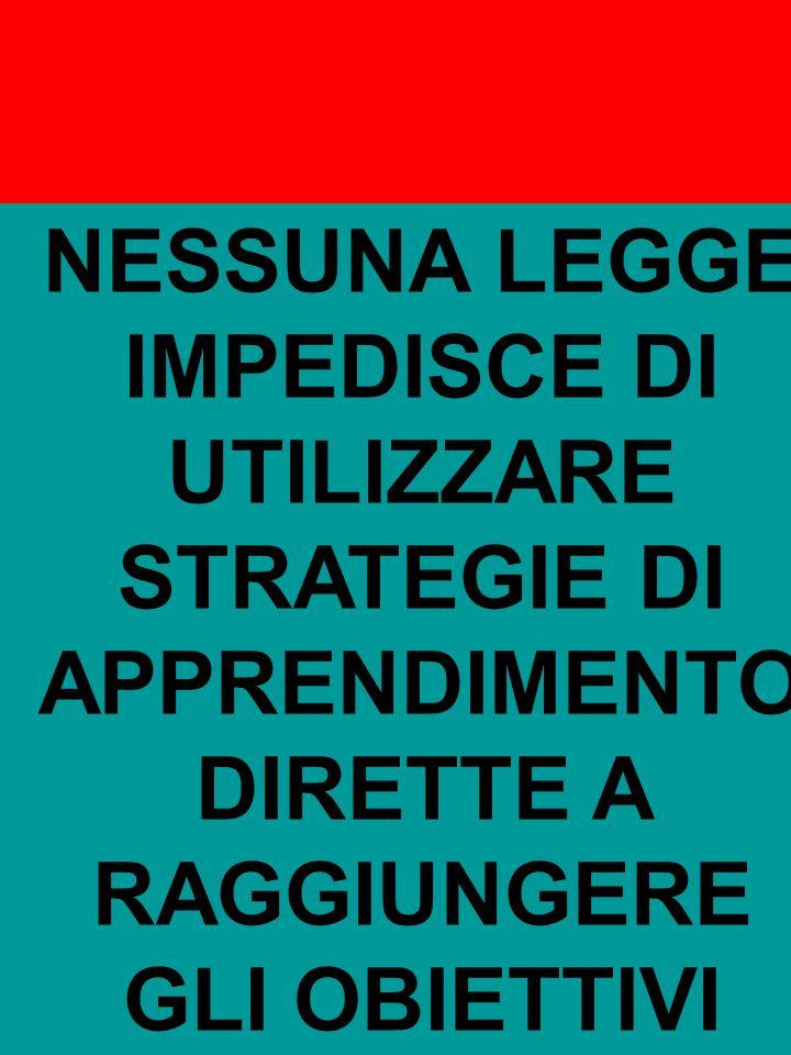 Riccarda Dell'Oro NESSUNA LEGGE IMPEDISCE DI UTILIZZARE STRATEGIE DI APPRENDIMENTO DIRETTE A RAGGIUNGERE GLI OBIETTIVI