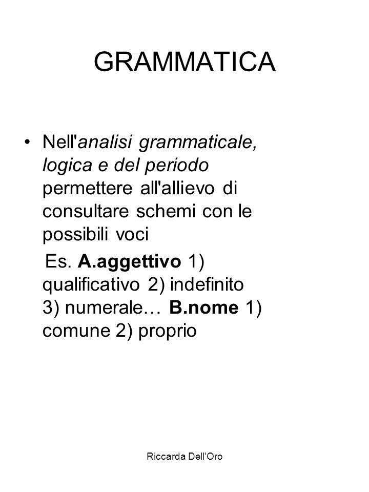 Riccarda Dell'Oro GRAMMATICA Nell'analisi grammaticale, logica e del periodo permettere all'allievo di consultare schemi con le possibili voci Es. A.a