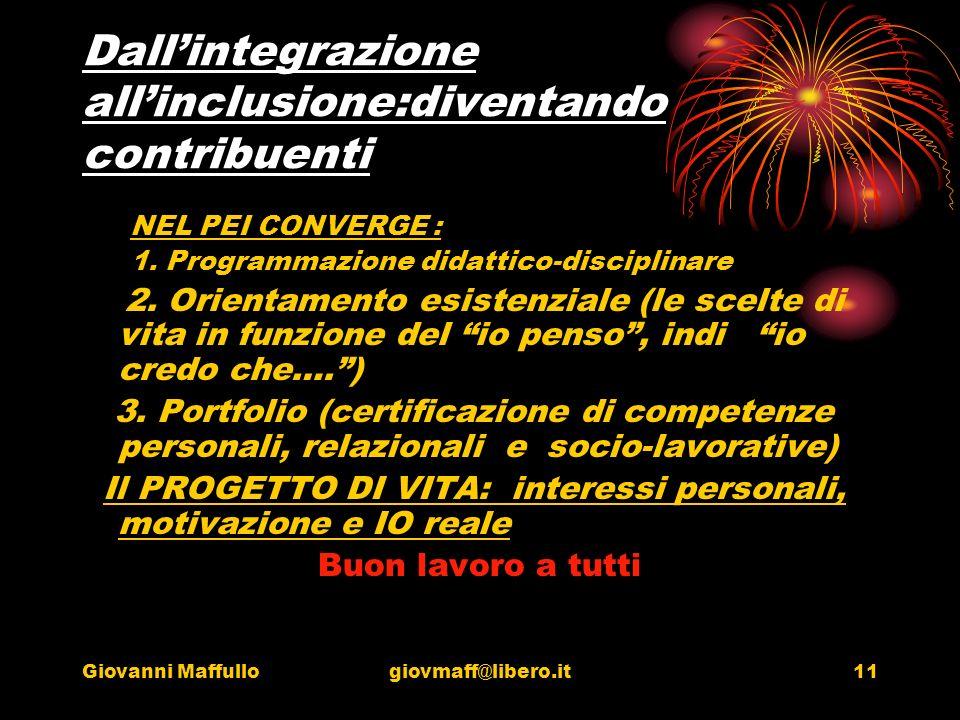 Giovanni Maffullogiovmaff@libero.it11 Dallintegrazione allinclusione:diventando contribuenti NEL PEI CONVERGE : 1.