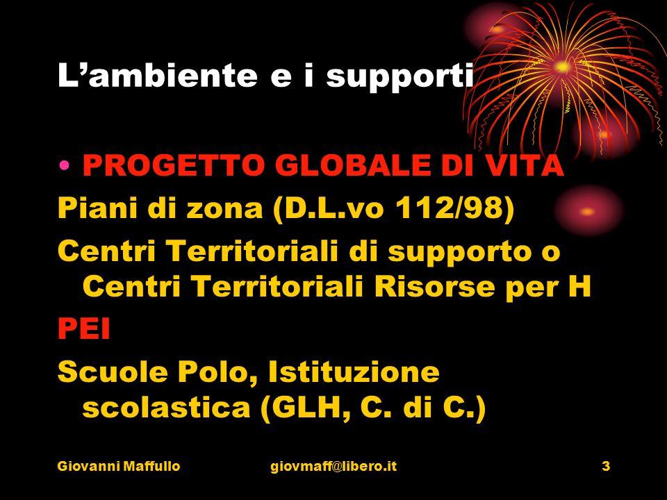 Giovanni Maffullogiovmaff@libero.it3 Lambiente e i supporti PROGETTO GLOBALE DI VITA Piani di zona (D.L.vo 112/98) Centri Territoriali di supporto o Centri Territoriali Risorse per H PEI Scuole Polo, Istituzione scolastica (GLH, C.