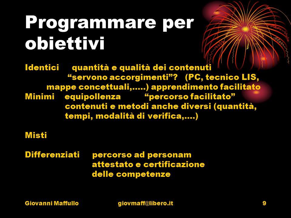 Giovanni Maffullogiovmaff@libero.it9 Programmare per obiettivi Identici quantità e qualità dei contenuti servono accorgimenti.