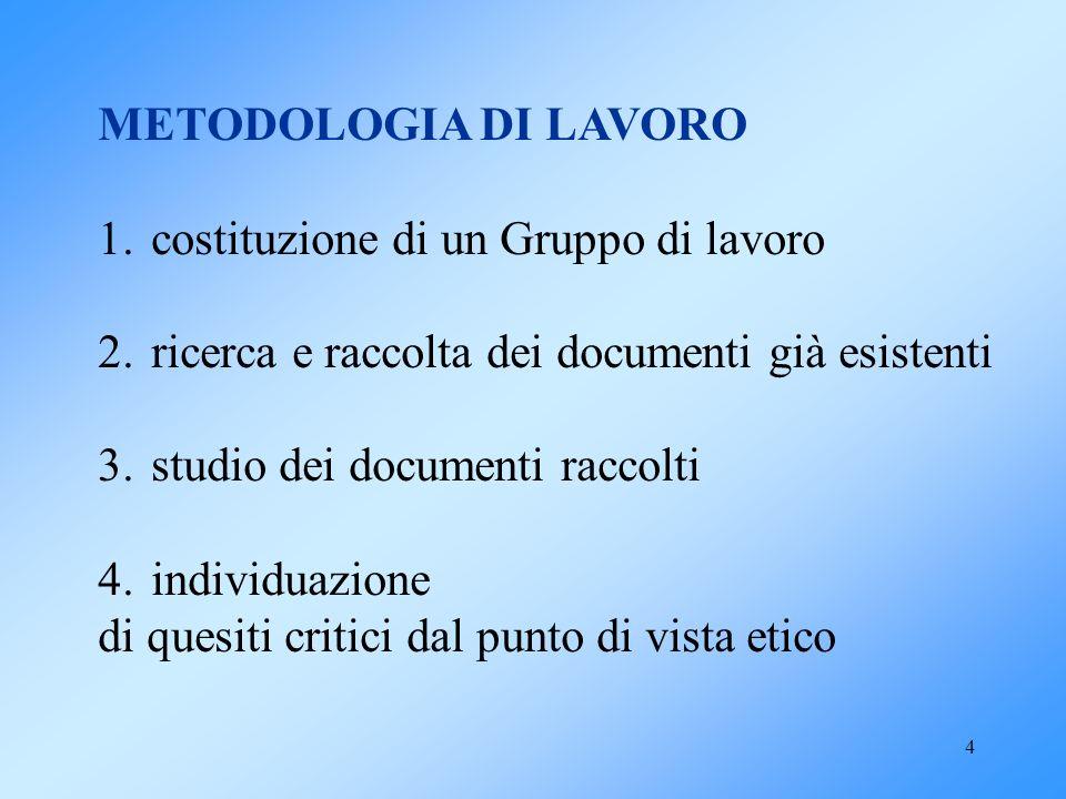 4 METODOLOGIA DI LAVORO 1.costituzione di un Gruppo di lavoro 2.ricerca e raccolta dei documenti già esistenti 3.studio dei documenti raccolti 4.indiv