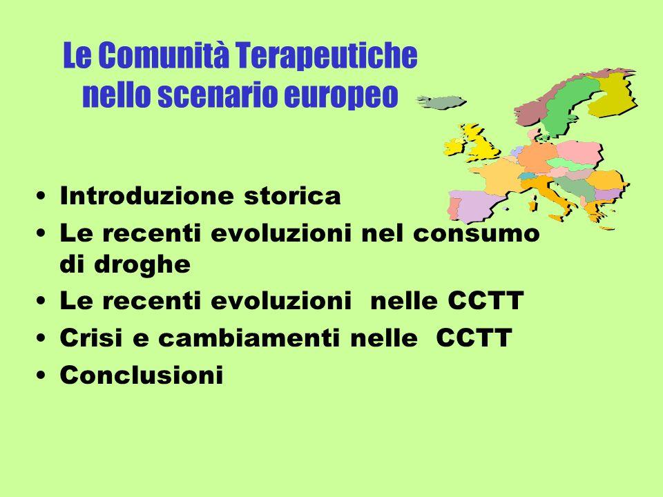 Le Comunità Terapeutiche nello scenario europeo Introduzione storica Le recenti evoluzioni nel consumo di droghe Le recenti evoluzioni nelle CCTT Crisi e cambiamenti nelle CCTT Conclusioni