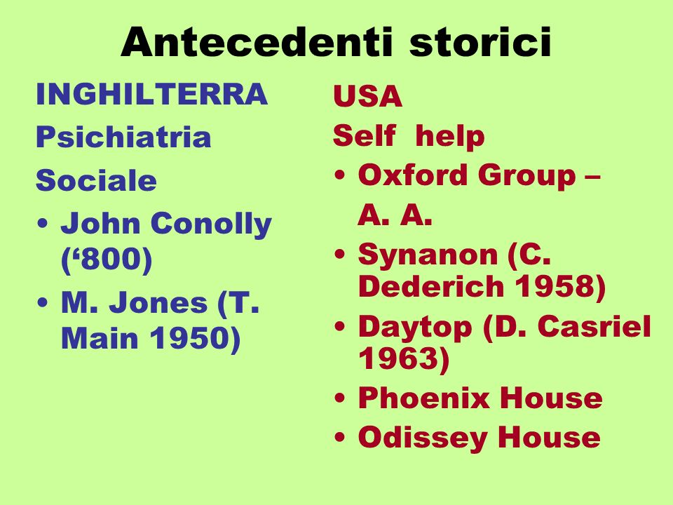 Antecedenti storici INGHILTERRA Psichiatria Sociale John Conolly (800) M.