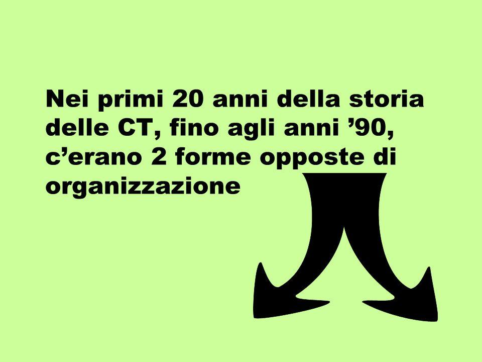 Nei primi 20 anni della storia delle CT, fino agli anni 90, cerano 2 forme opposte di organizzazione