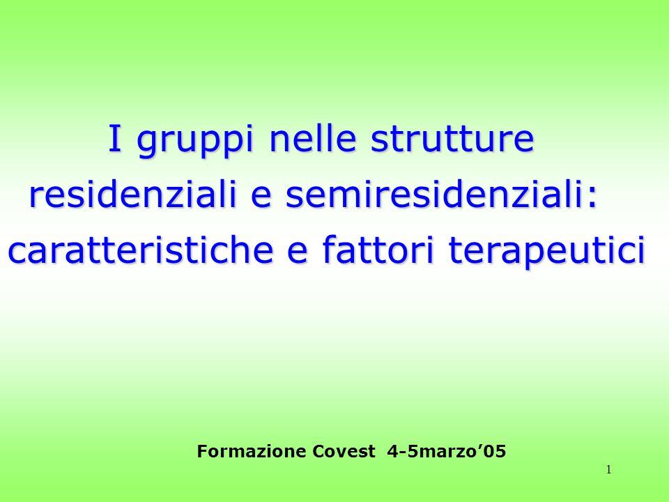 1 I gruppi nelle strutture residenziali e semiresidenziali: caratteristiche e fattori terapeutici Formazione Covest 4-5marzo05