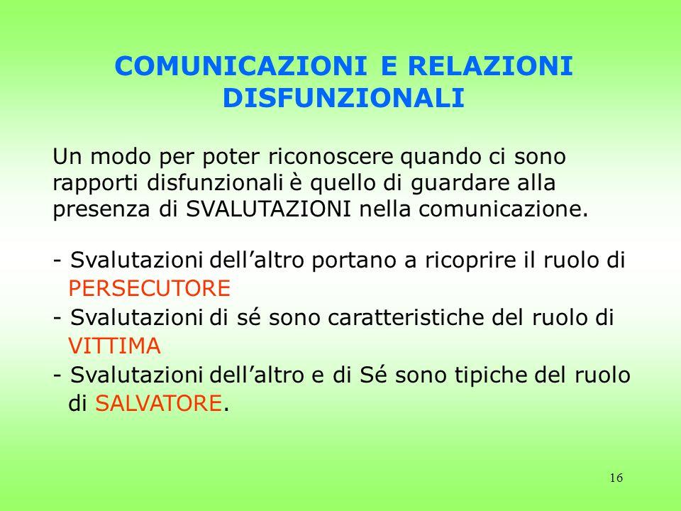 16 COMUNICAZIONI E RELAZIONI DISFUNZIONALI Un modo per poter riconoscere quando ci sono rapporti disfunzionali è quello di guardare alla presenza di S