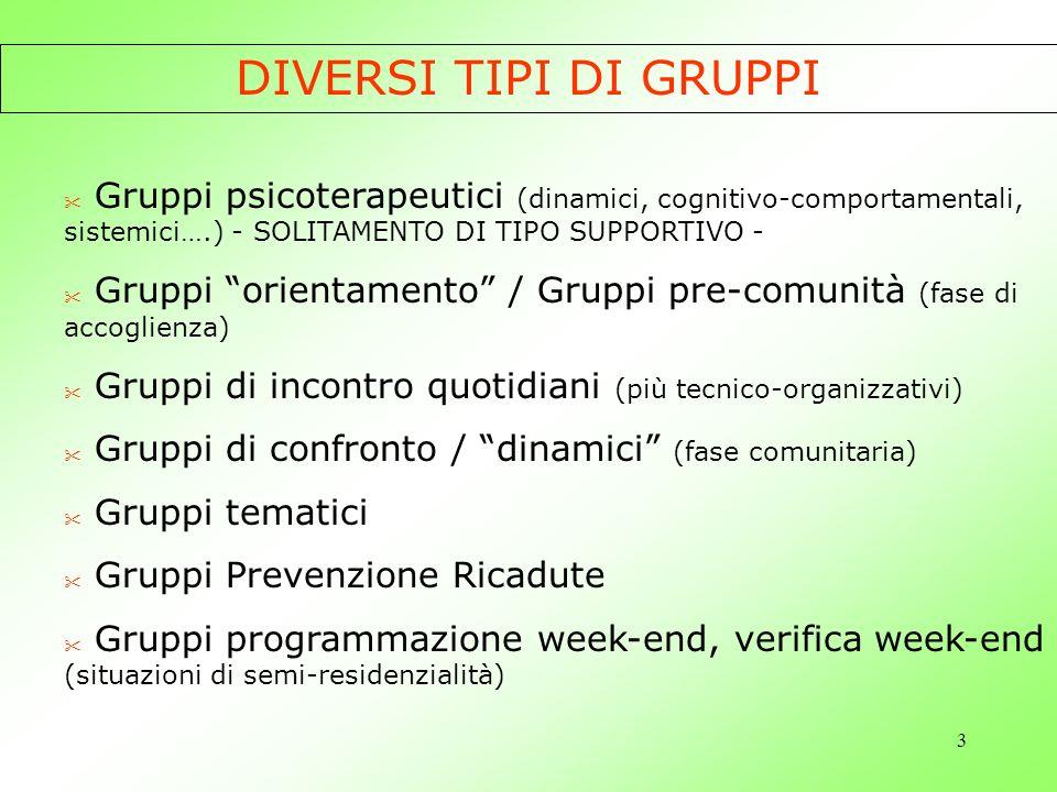 4 LA COMUNITA COME GRUPPO La dimensione gruppale della Comunità Diversi gruppi con gli utenti allinterno della Comunità Gruppo équipe degli operatori
