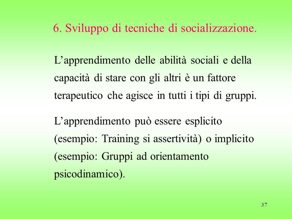 37 6. Sviluppo di tecniche di socializzazione. Lapprendimento delle abilità sociali e della capacità di stare con gli altri è un fattore terapeutico c