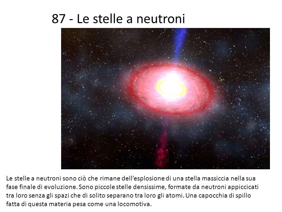 87 - Le stelle a neutroni Le stelle a neutroni sono ciò che rimane dellesplosione di una stella massiccia nella sua fase finale di evoluzione. Sono pi