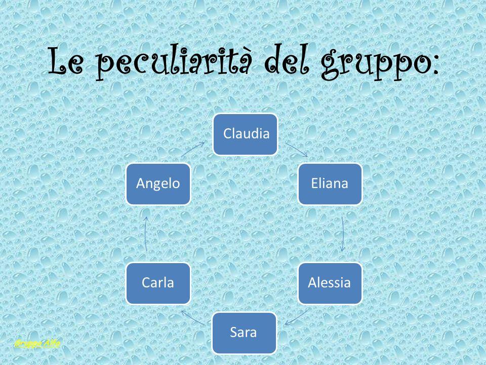 Le peculiarità del gruppo: ClaudiaElianaAlessiaSaraCarlaAngelo Gruppo Alfa