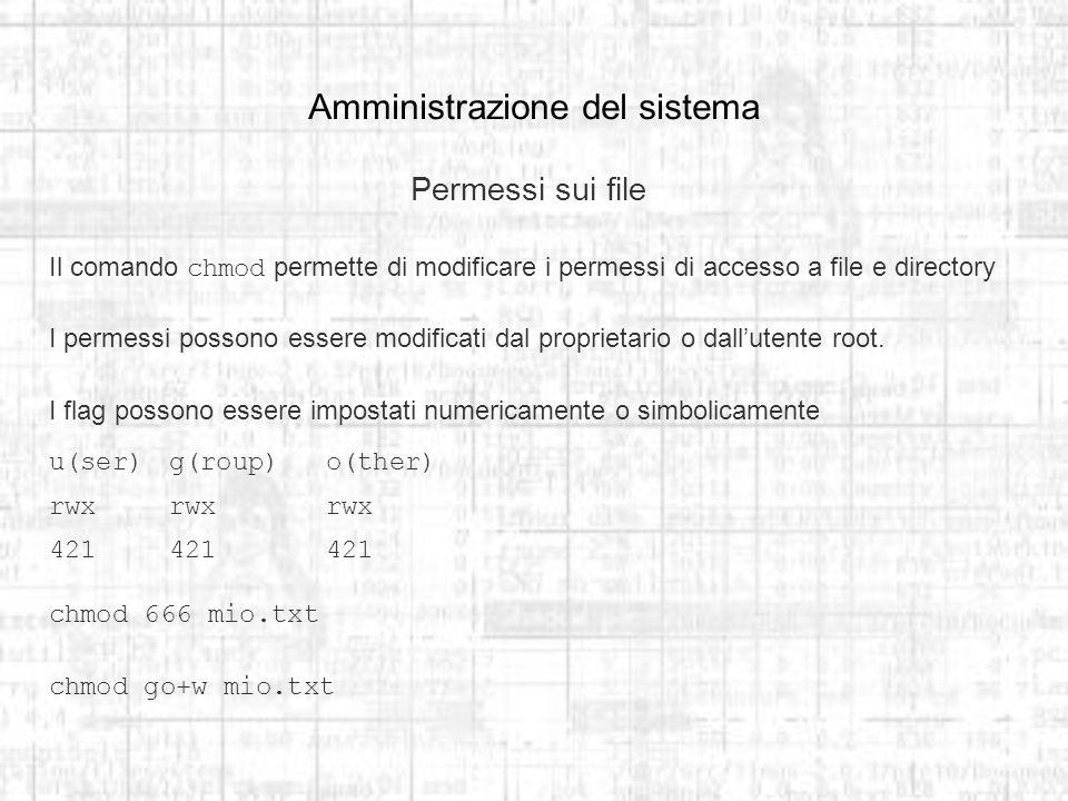 Amministrazione del sistema Permessi sui file Il comando chmod permette di modificare i permessi di accesso a file e directory I permessi possono essere modificati dal proprietario o dallutente root.