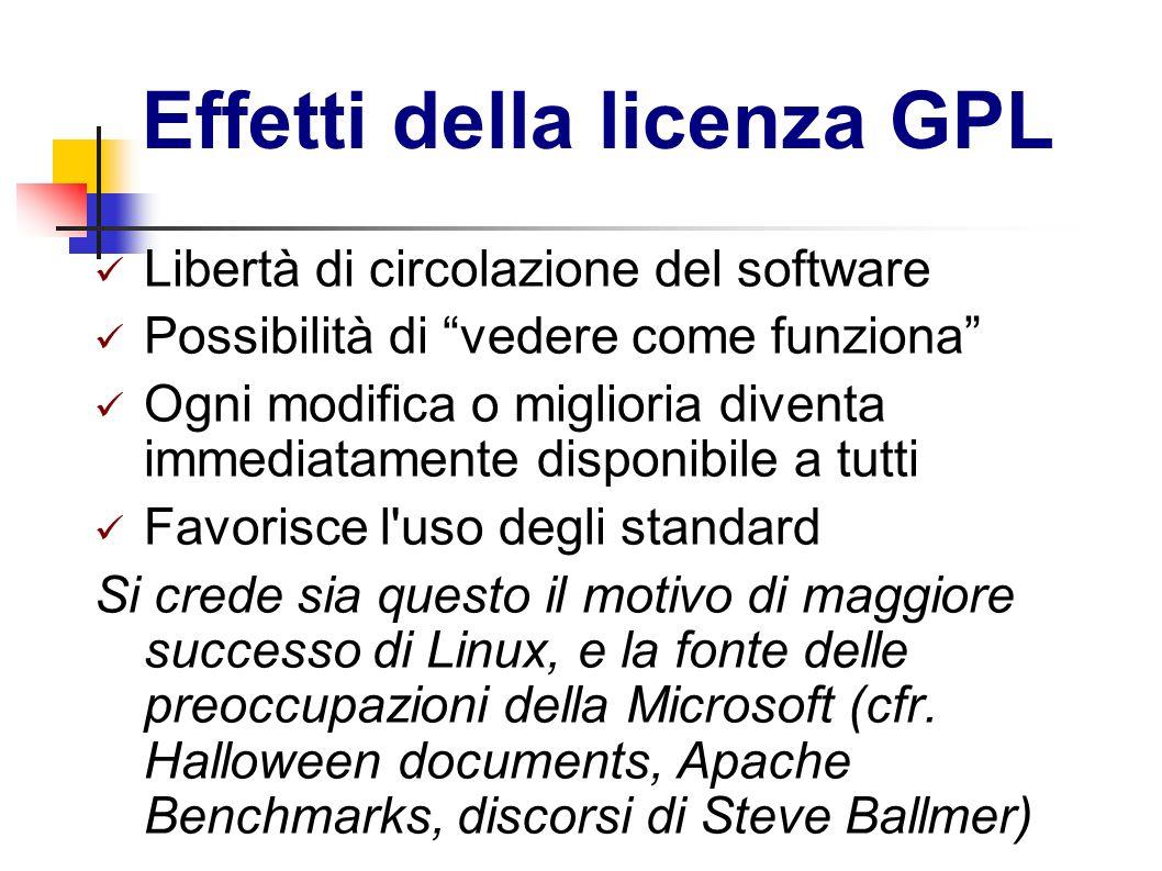 Effetti della licenza GPL Libertà di circolazione del software Possibilità di vedere come funziona Ogni modifica o miglioria diventa immediatamente di