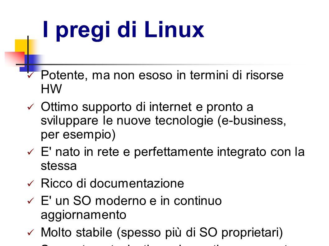 I pregi di Linux Potente, ma non esoso in termini di risorse HW Ottimo supporto di internet e pronto a sviluppare le nuove tecnologie (e-business, per