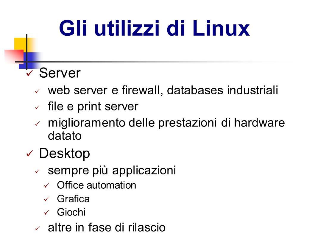 Gli utilizzi di Linux Server web server e firewall, databases industriali file e print server miglioramento delle prestazioni di hardware datato Deskt