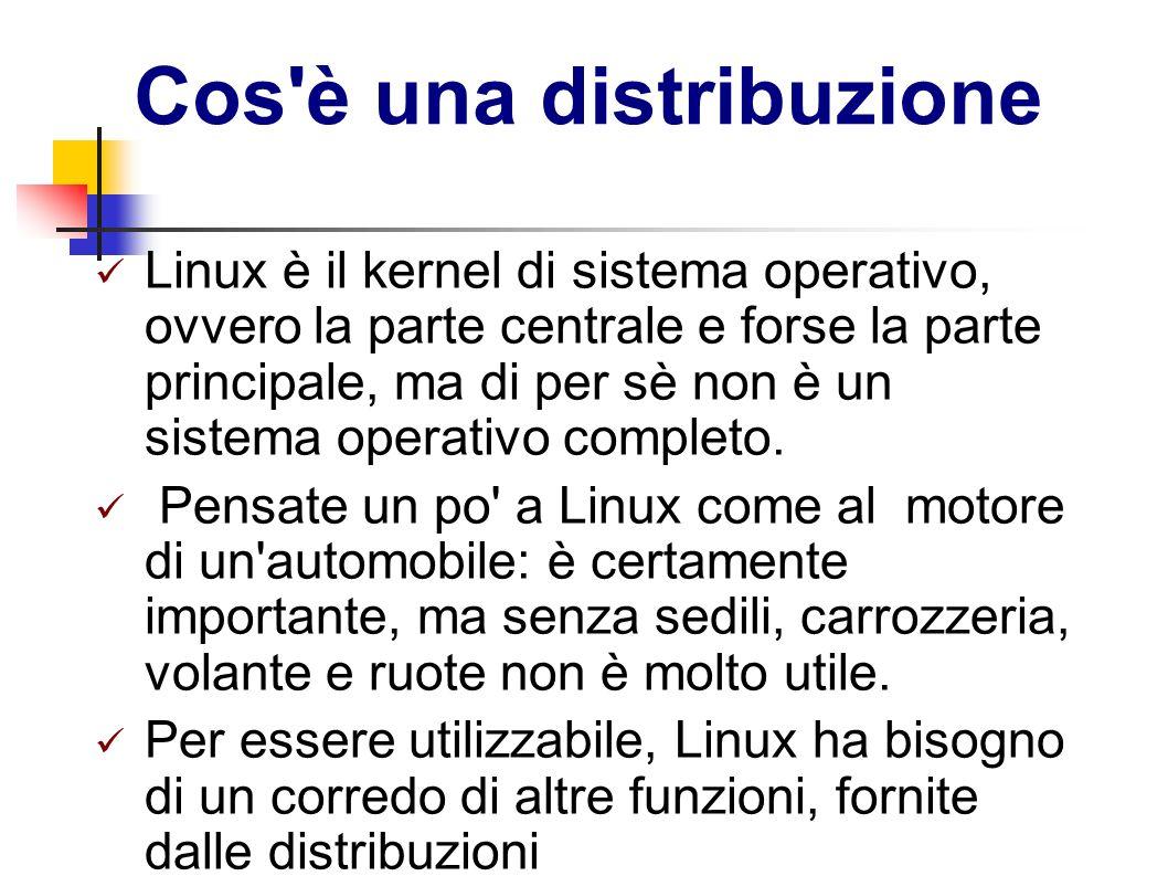 Cos'è una distribuzione Linux è il kernel di sistema operativo, ovvero la parte centrale e forse la parte principale, ma di per sè non è un sistema op