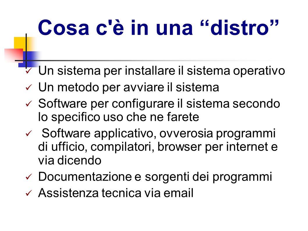 Cosa c'è in una distro Un sistema per installare il sistema operativo Un metodo per avviare il sistema Software per configurare il sistema secondo lo