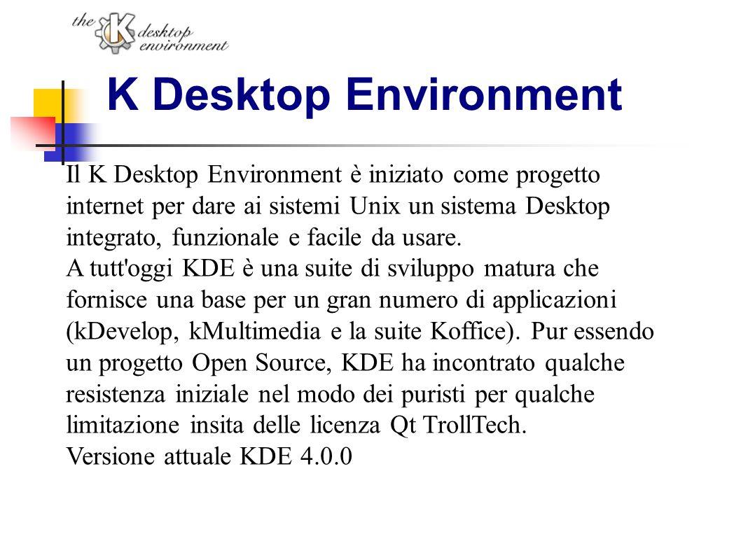 K Desktop Environment Il K Desktop Environment è iniziato come progetto internet per dare ai sistemi Unix un sistema Desktop integrato, funzionale e f