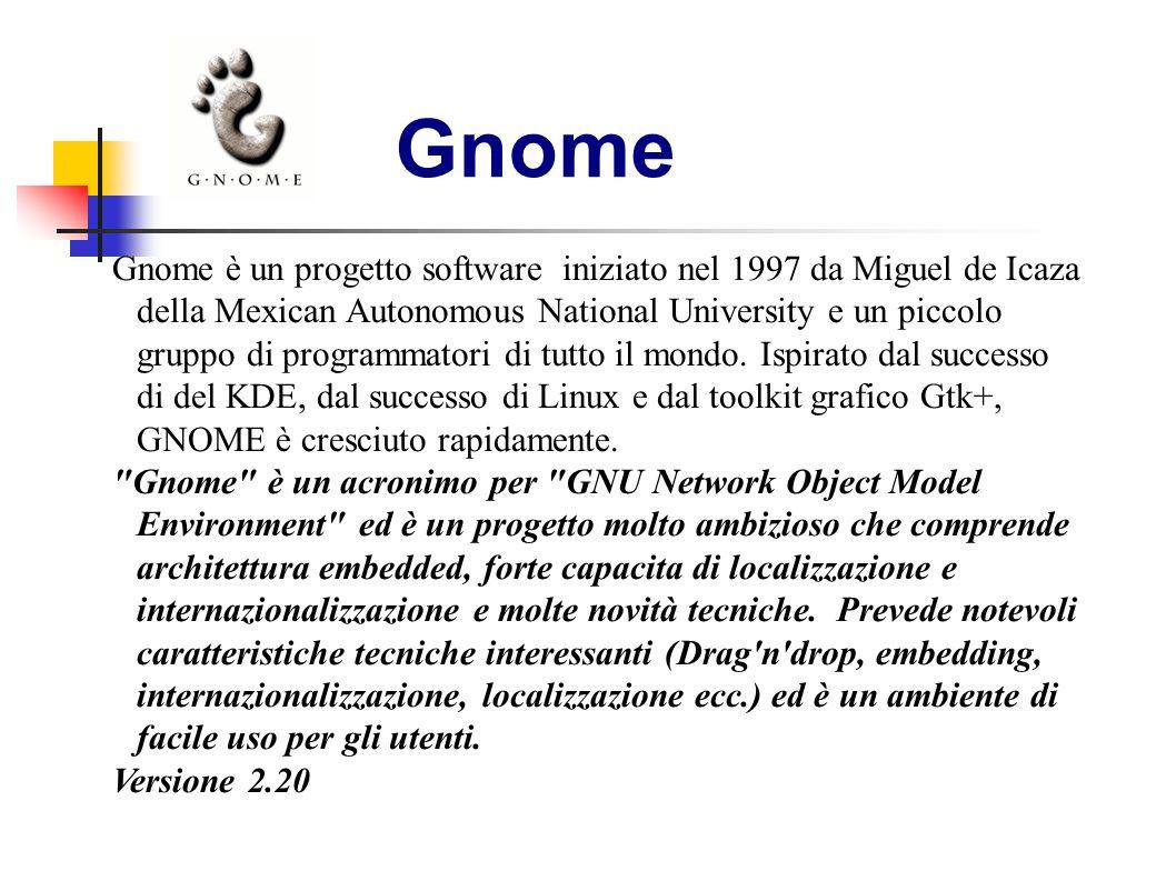 Gnome Gnome è un progetto software iniziato nel 1997 da Miguel de Icaza della Mexican Autonomous National University e un piccolo gruppo di programmat