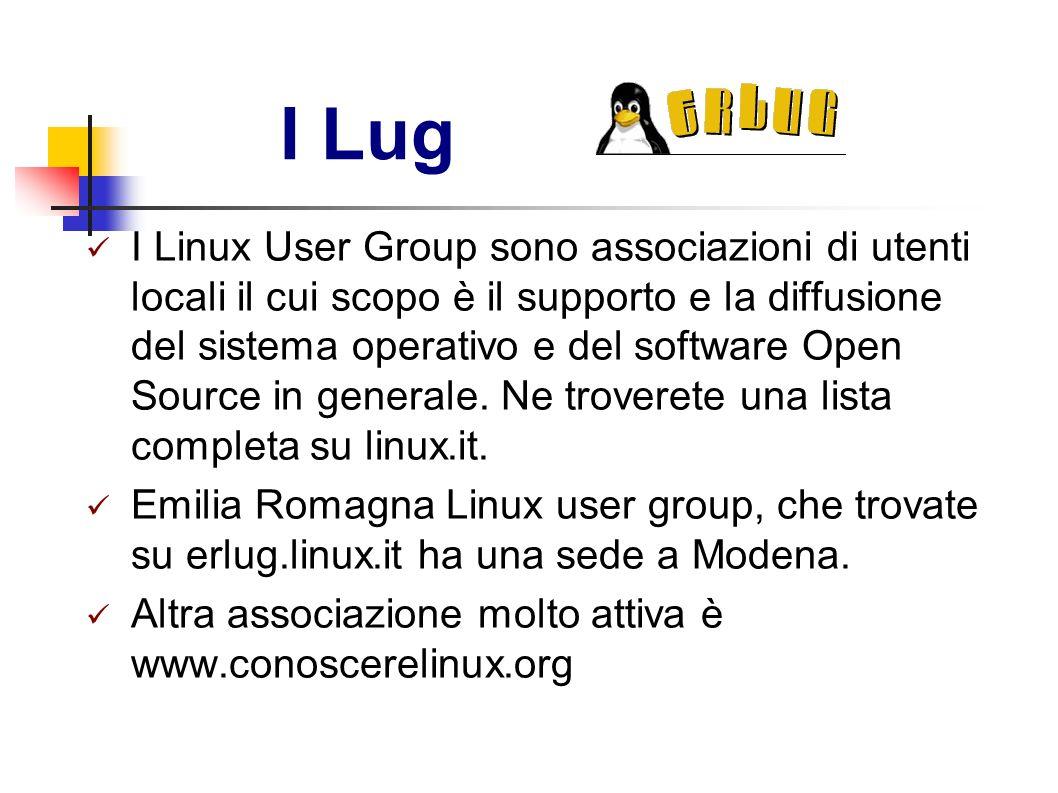 I Lug I Linux User Group sono associazioni di utenti locali il cui scopo è il supporto e la diffusione del sistema operativo e del software Open Sourc