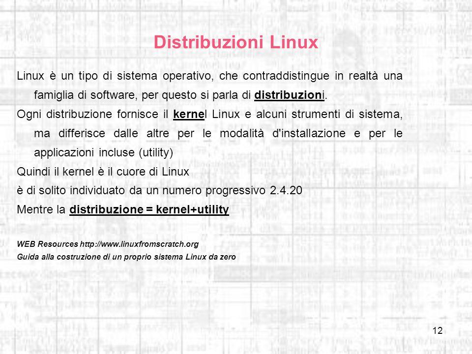 12 Distribuzioni Linux Linux è un tipo di sistema operativo, che contraddistingue in realtà una famiglia di software, per questo si parla di distribuz