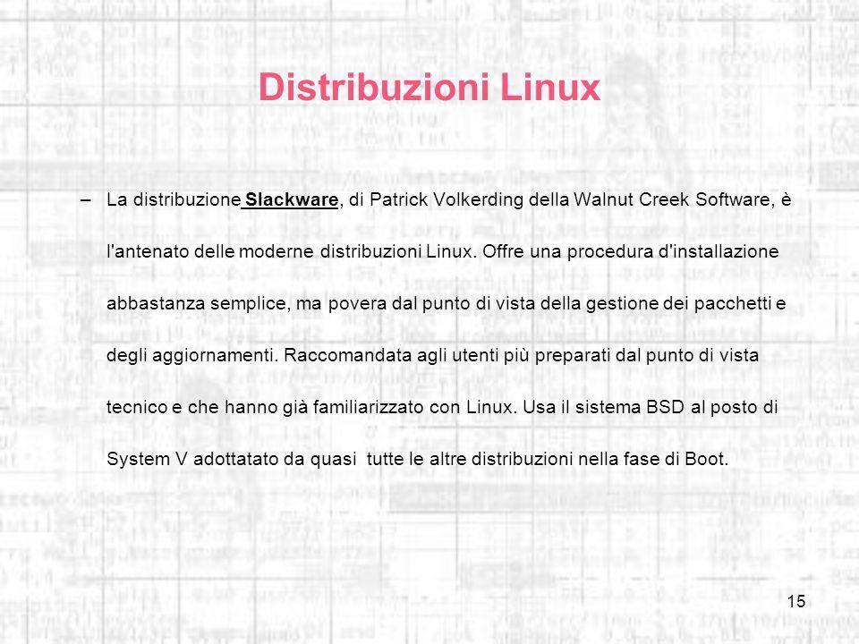 15 Distribuzioni Linux –La distribuzione Slackware, di Patrick Volkerding della Walnut Creek Software, è l'antenato delle moderne distribuzioni Linux.
