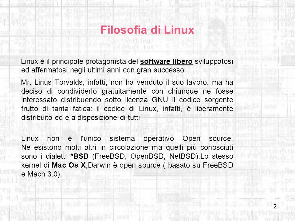 2 Filosofia di Linux Linux è il principale protagonista del software libero sviluppatosi ed affermatosi negli ultimi anni con gran successo. Mr. Linus