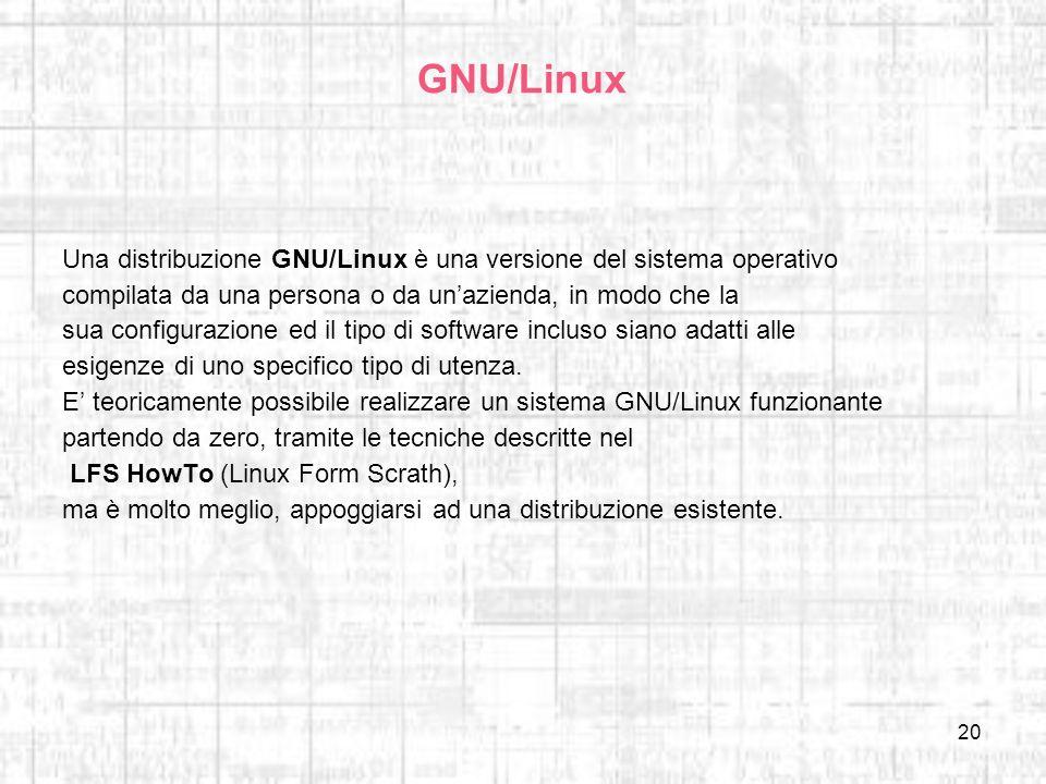 20 GNU/Linux Una distribuzione GNU/Linux è una versione del sistema operativo compilata da una persona o da unazienda, in modo che la sua configurazio