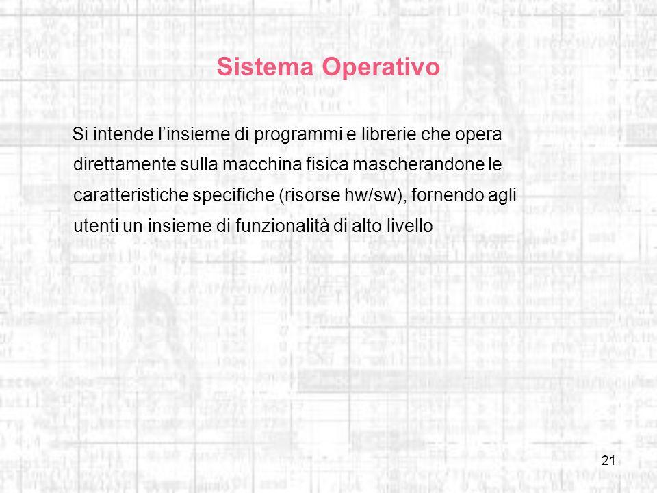 21 Sistema Operativo Si intende linsieme di programmi e librerie che opera direttamente sulla macchina fisica mascherandone le caratteristiche specifi