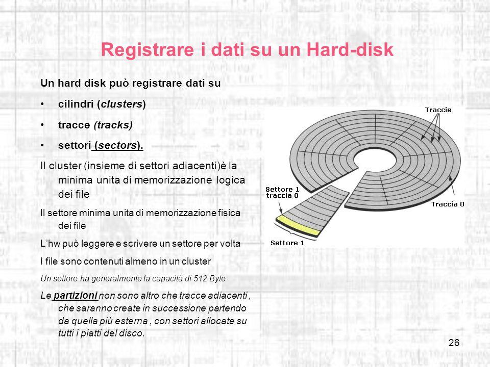 26 Registrare i dati su un Hard-disk Un hard disk può registrare dati su cilindri (clusters) tracce (tracks) settori (sectors). Il cluster (insieme di