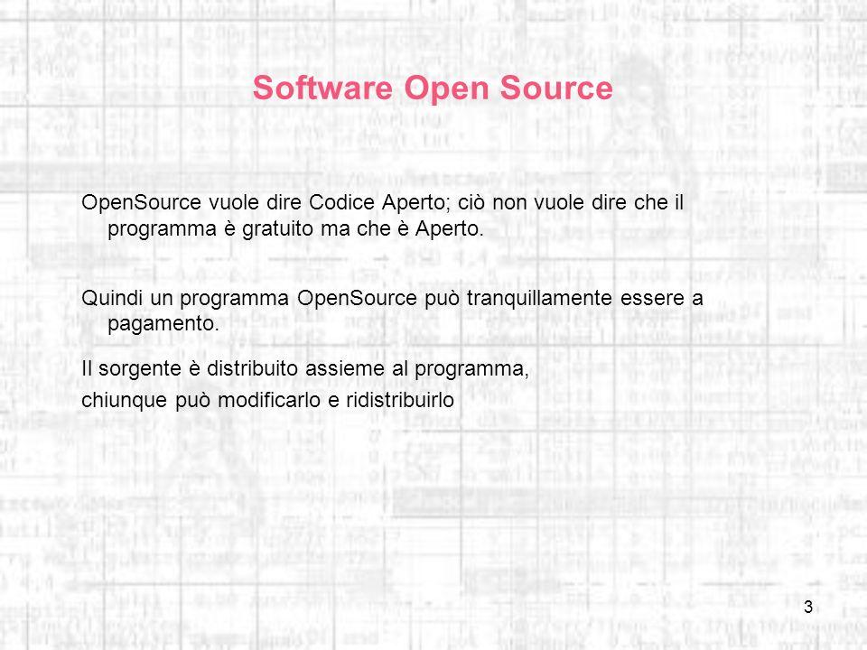 3 Software Open Source OpenSource vuole dire Codice Aperto; ciò non vuole dire che il programma è gratuito ma che è Aperto. Quindi un programma OpenSo