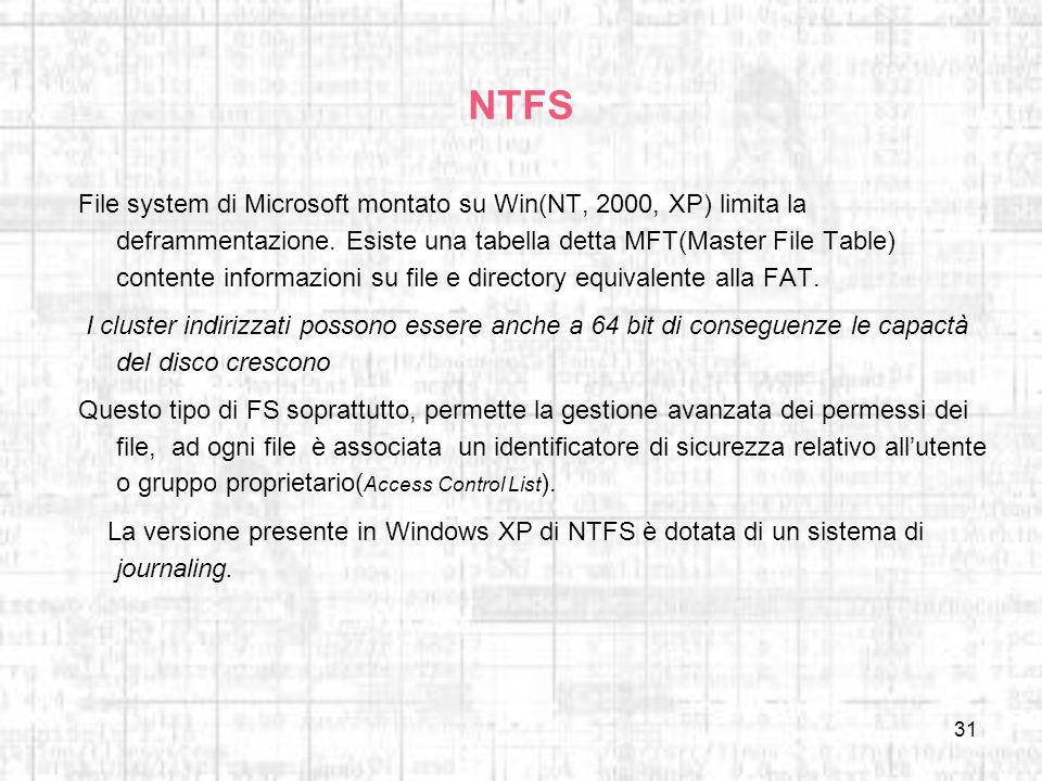 31 NTFS File system di Microsoft montato su Win(NT, 2000, XP) limita la deframmentazione. Esiste una tabella detta MFT(Master File Table) contente inf